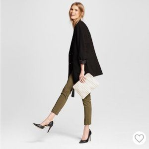 Who What Wear olive slim ankle high rise pants